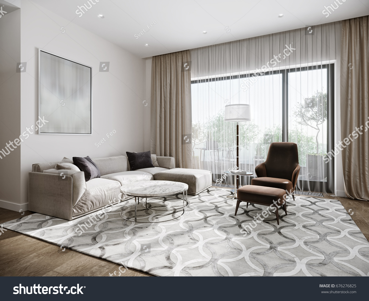 Modern Urban Contemporary Living Room Hotel Stock Illustration ...