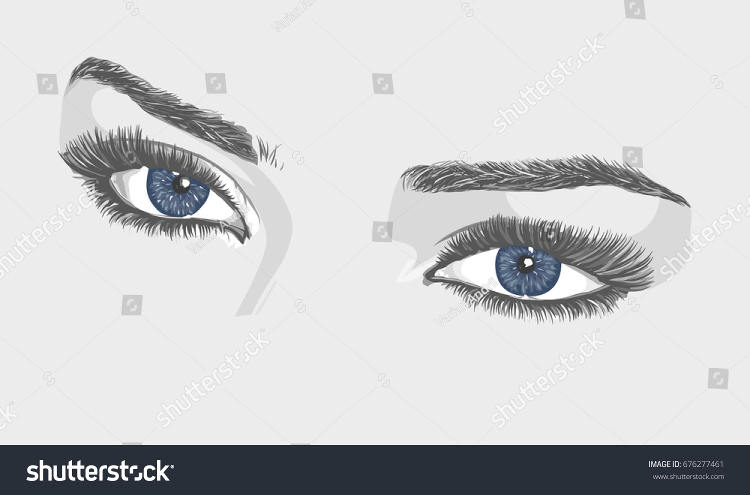 Beauty Woman Blue Eyes Eyebrows Eyelashes Stock Vector Royalty Free