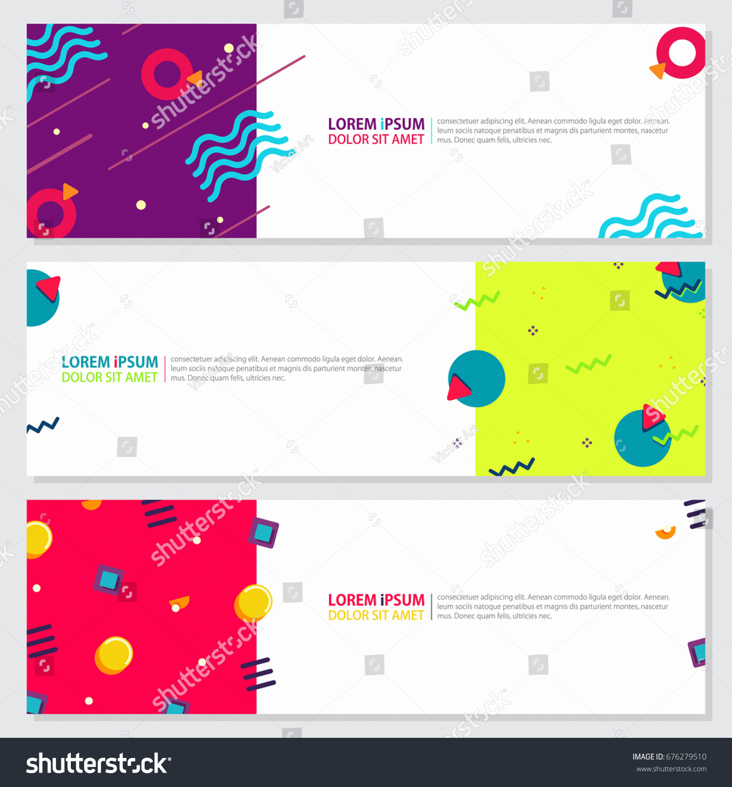 Memphis Style Banner Design Set Colorful Stock Vector (2018 ...