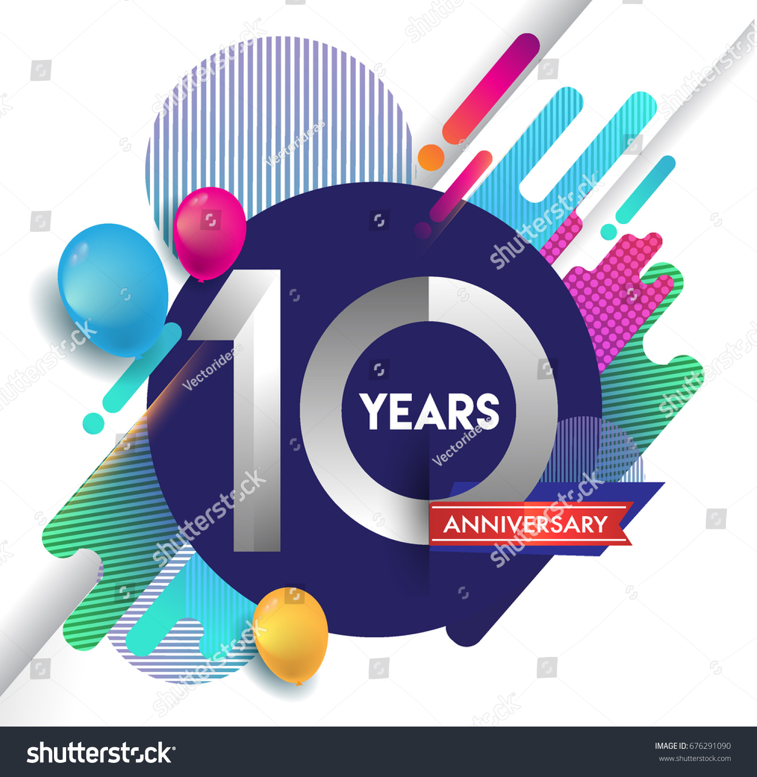 10 Years Anniversary Logo Colorful Abstract Stock Vector