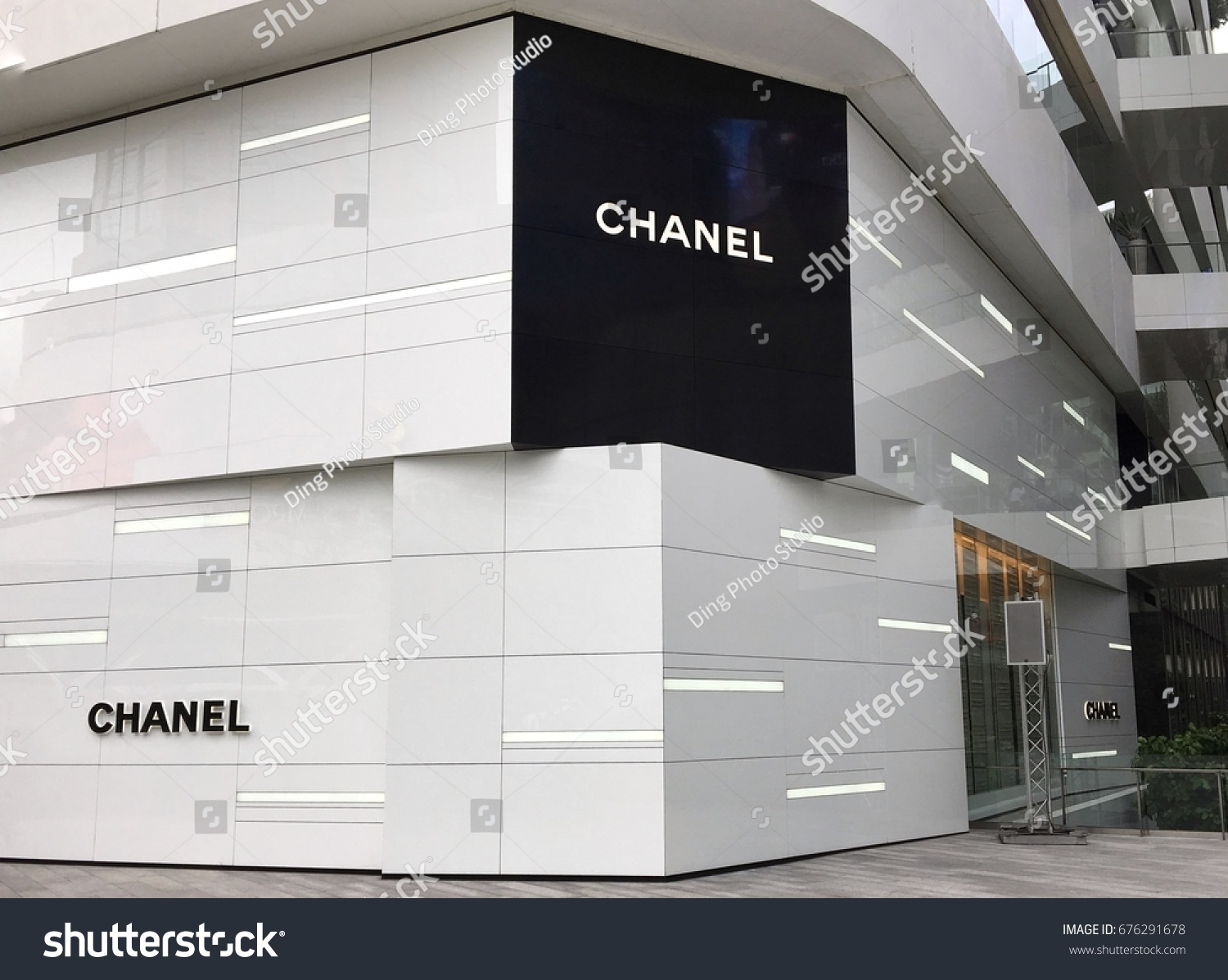 105fcecd2a98 CHANEL logo in front of chanel boutique store outside at the Emquartier  department store in Bangkok