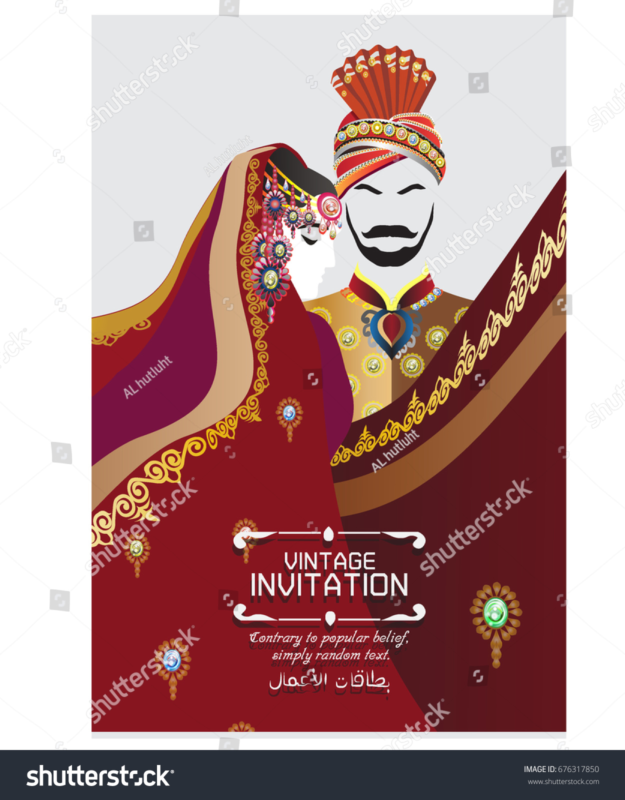 Vector illustration indian wedding invitation card stock vector vector illustration of indian wedding invitation card with abstract background islam arabic india stopboris Images