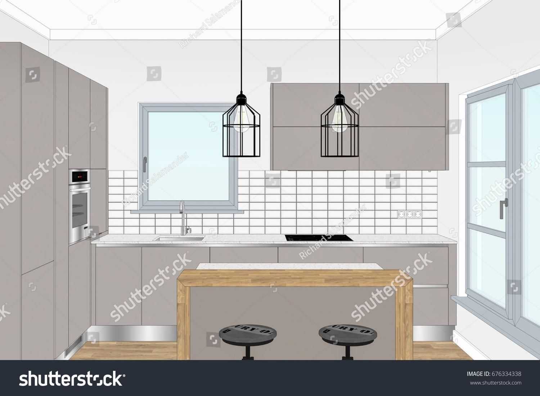 3 D Illustration Modern Creative Kitchen Design Stock Illustration
