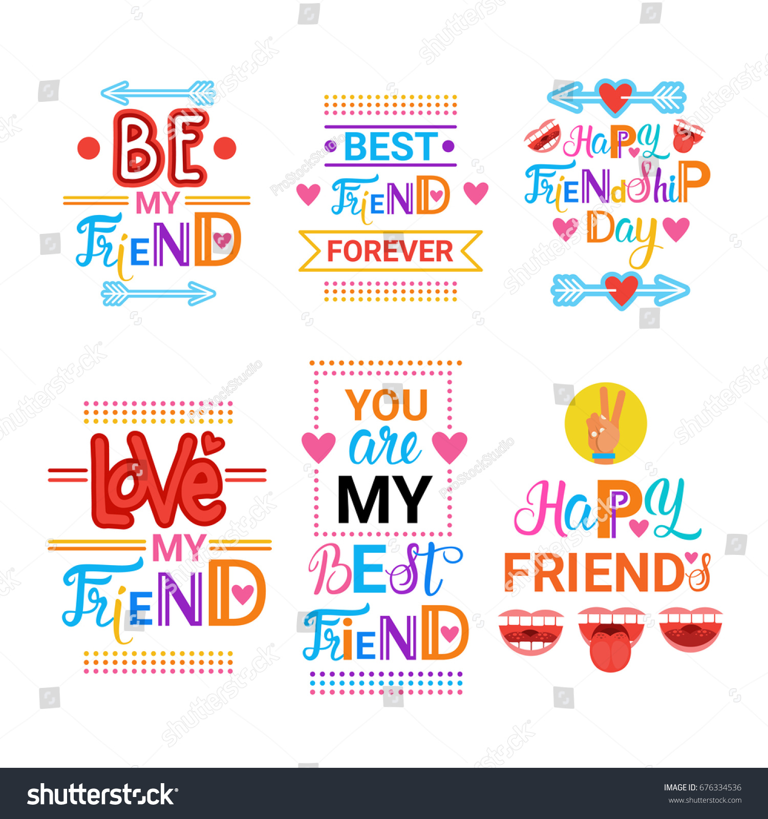 Happy Friendship Day Greeting Cards Set Stock Vector 676334536