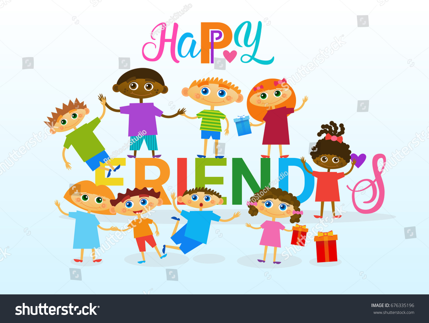 Happy Friendship Day Greeting Card Mix Stock Vector Royalty Free