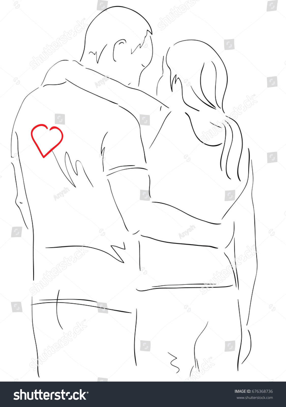 Pencil drawing of a man and a woman couple hugging each other the man