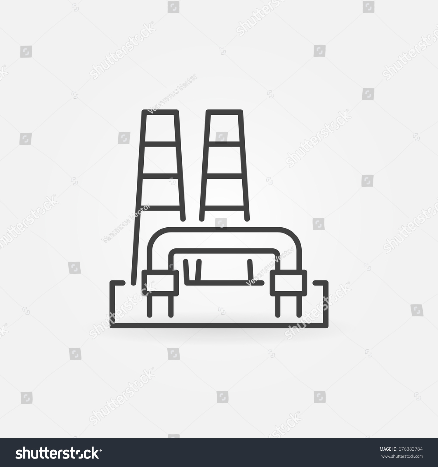 Outline Geothermal Power Plant Icon Vector Stock Royalty Diagram Renewable Energy Concept Sign