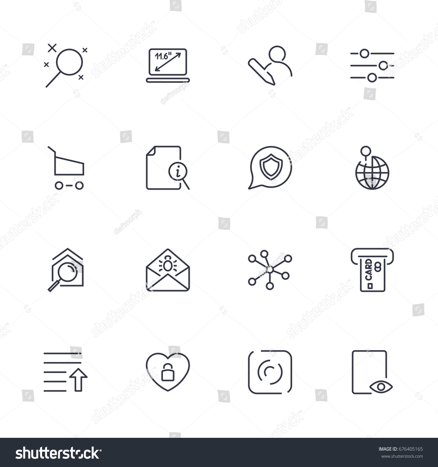 Set different icons modern style high stock vector 676405165 set with different icons in modern style high quality symbols for web site design and buycottarizona