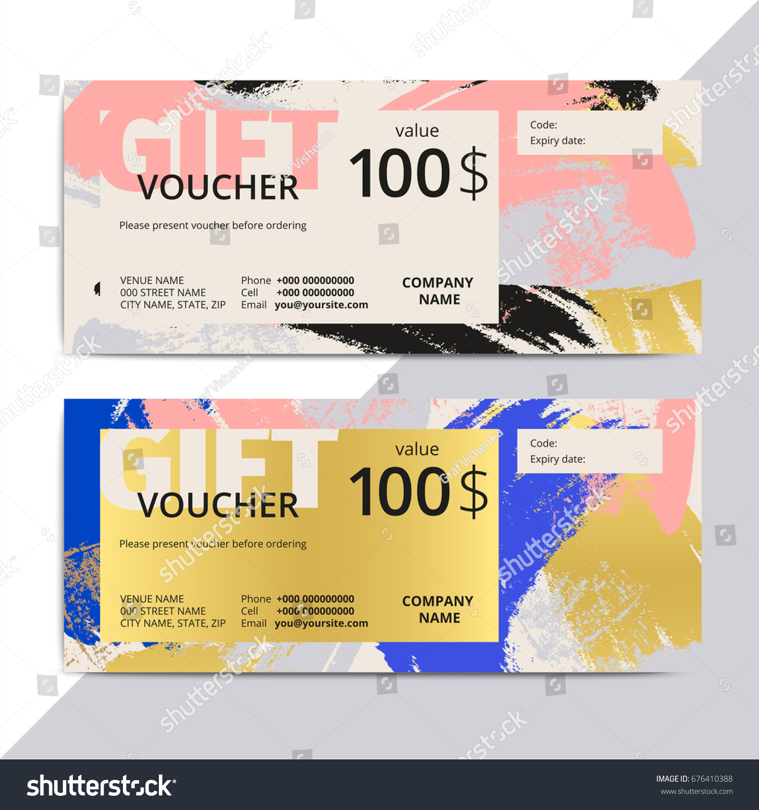 Trendy elegant gift voucher card templates stock vector 676410388 trendy elegant gift voucher card templates modern luxury discount coupon or certificate layout with abstract xflitez Gallery
