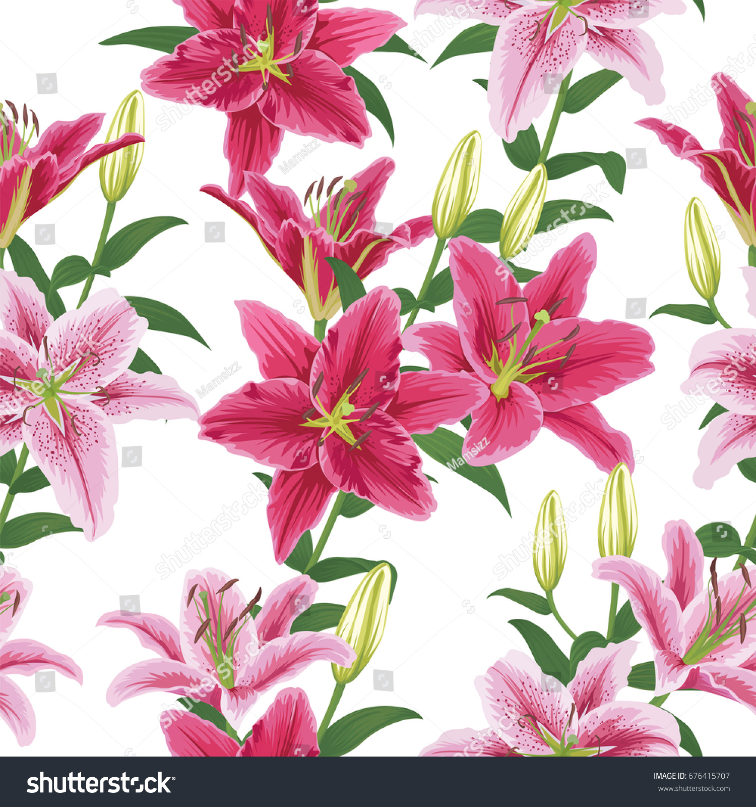 Seamless Pattern Colorful Lilies Flower On Stock Vector 676415707