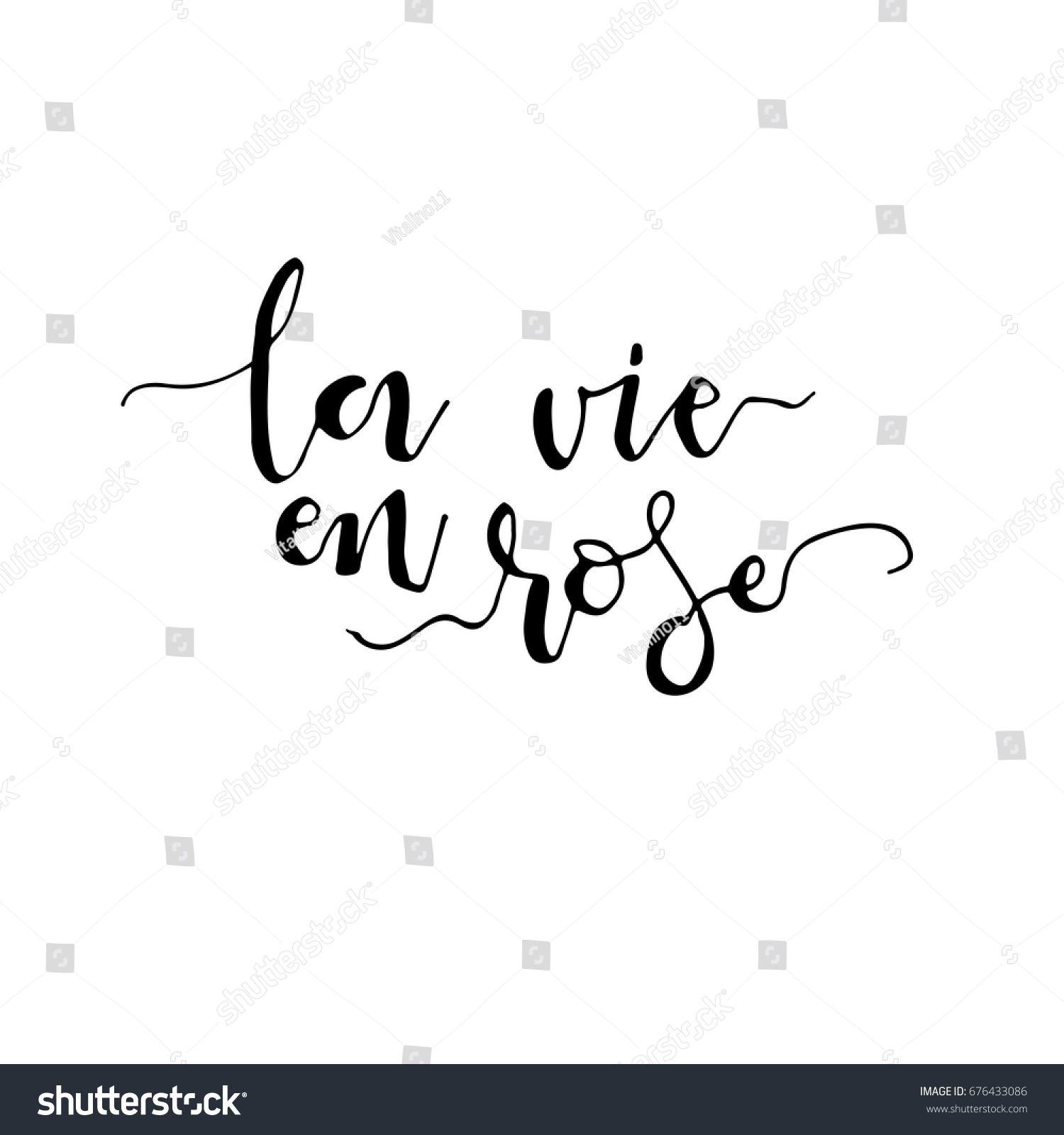 La Vie En Rose Phrase Life Stock Vector Royalty Free 676433086