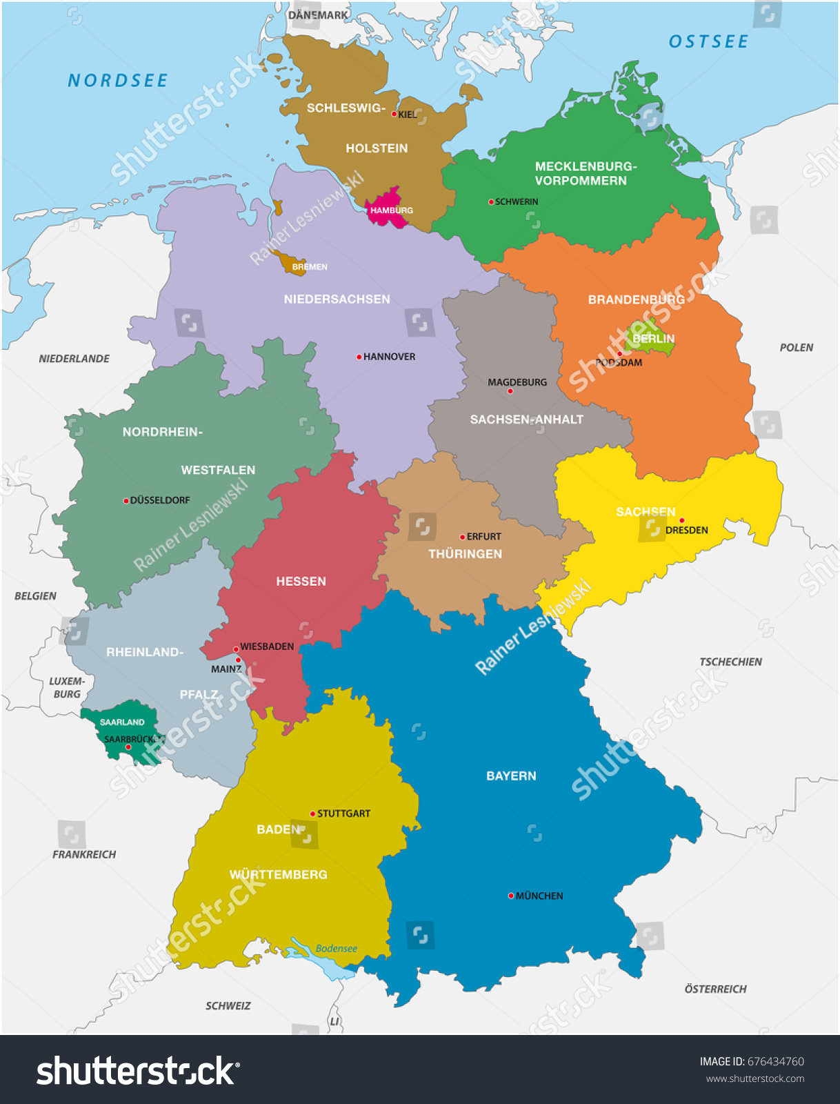 Administrative political map germany stock illustration 676434760 administrative and political map of germany gumiabroncs Images