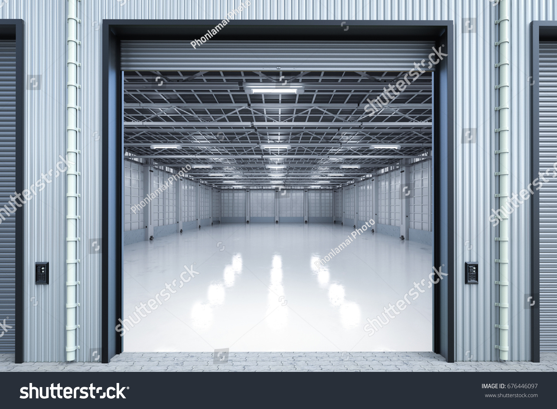 3d Rendering Warehouse Interior With Shutter Doors Opened