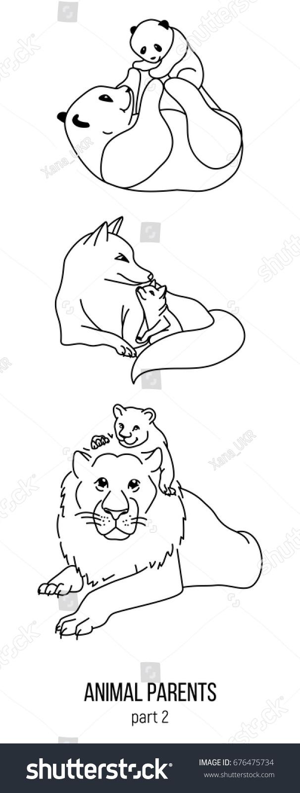 set parent kid animals vector coloring stock vector 676475734