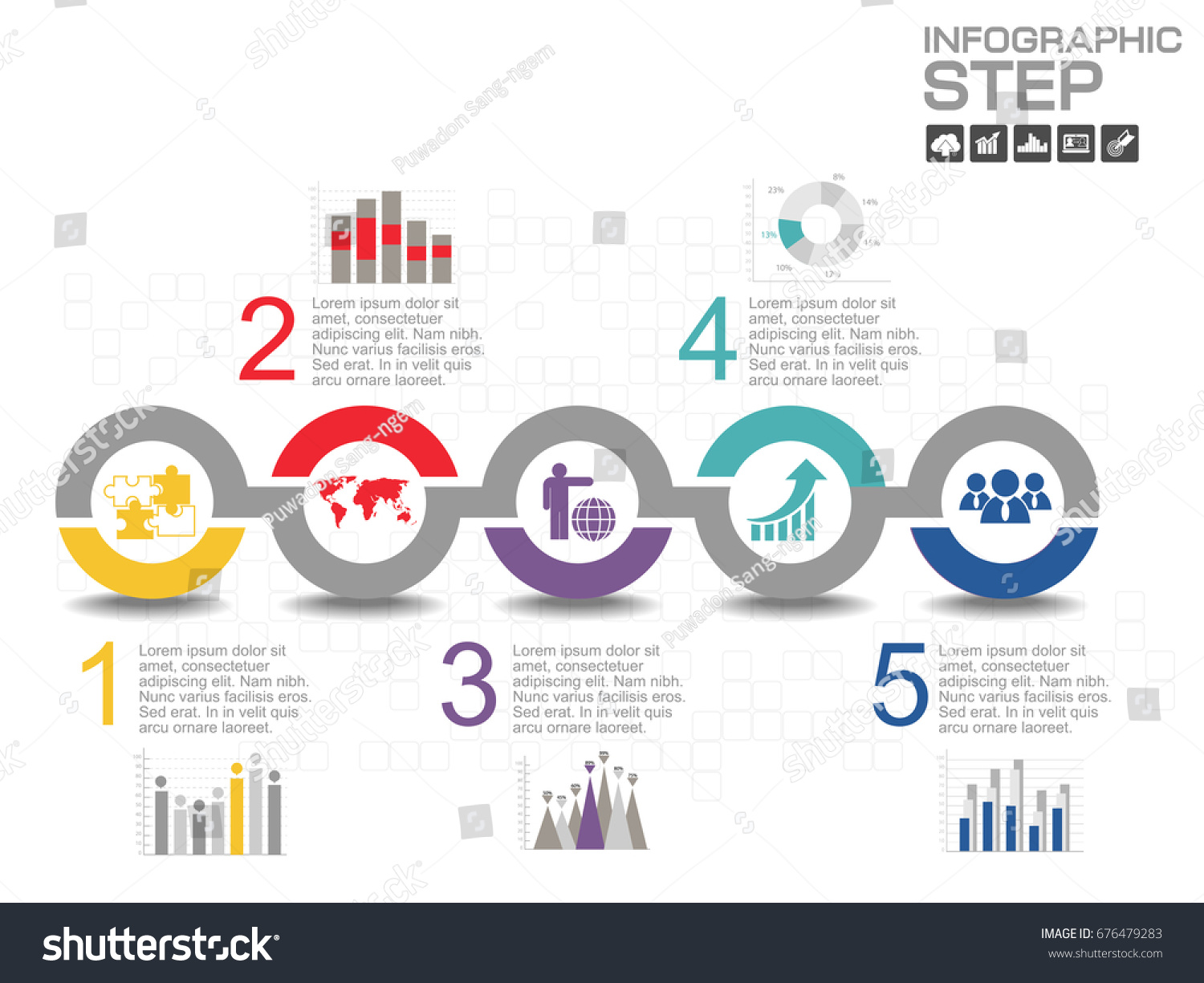 5 steps timeline infographics design template stock vector 676479283 rh shutterstock com step by step business process template visio process diagram