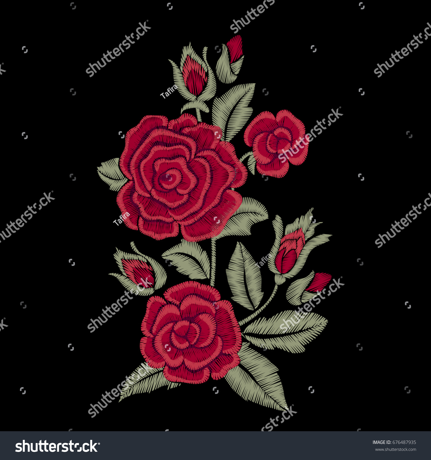 Embroidered flowers leaves bouquet red roses stock vector