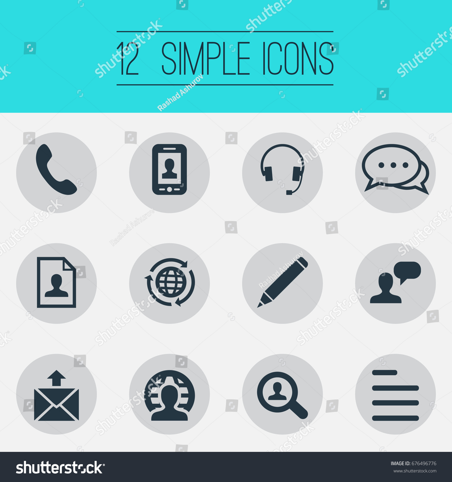 vector illustration set simple contact icons stock vector (royalty