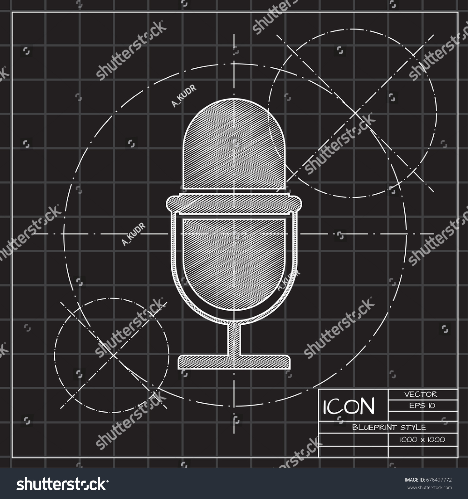 Vector blueprint retro microphone icon on vectores en stock vector blueprint retro microphone icon on engineer and architect background malvernweather Choice Image