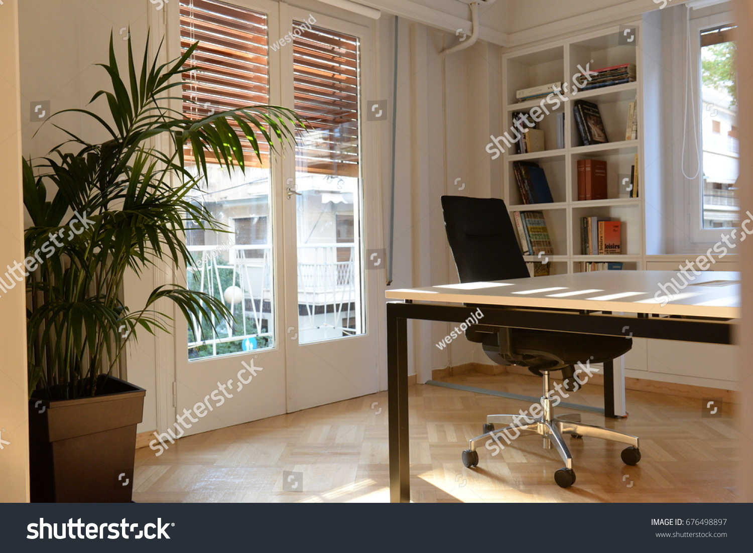 Office Space With Natural Light And Book Shelves.