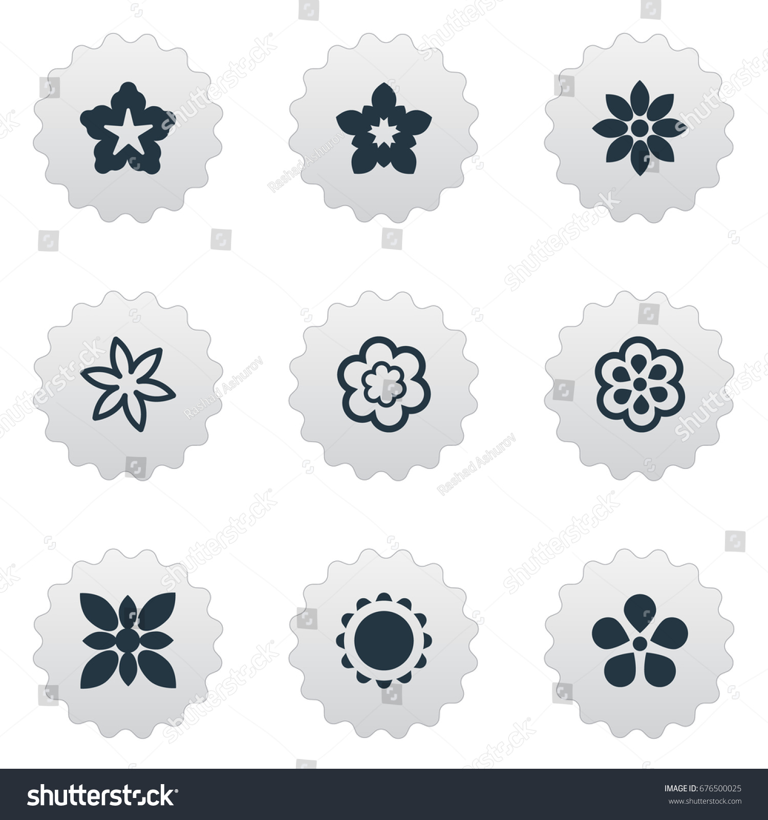 Vector Illustration Set Simple Flower Icons Stock Vector 676500025 ...