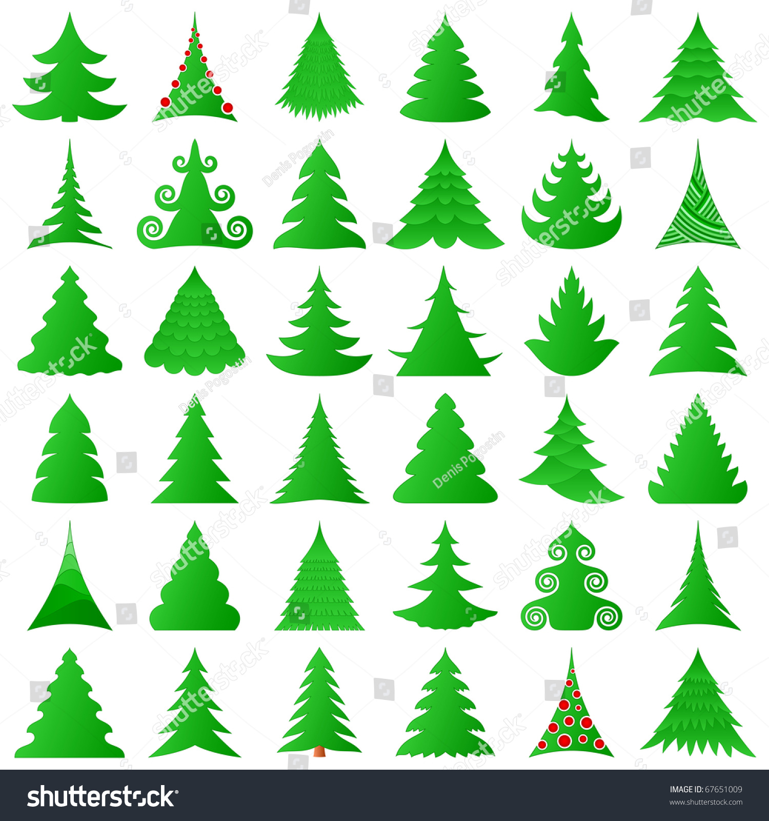 Christmas Tree Collection Gravesend : Christmas trees collection stock vector illustration