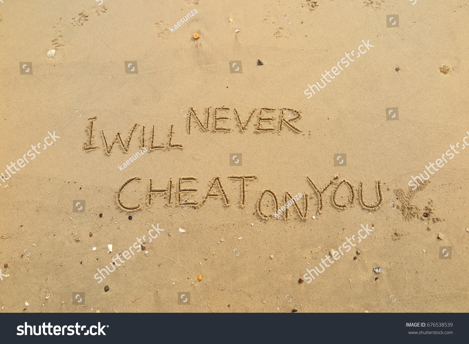 Handwriting Words I WILL NEVER CHEAT Stock Photo (Edit Now