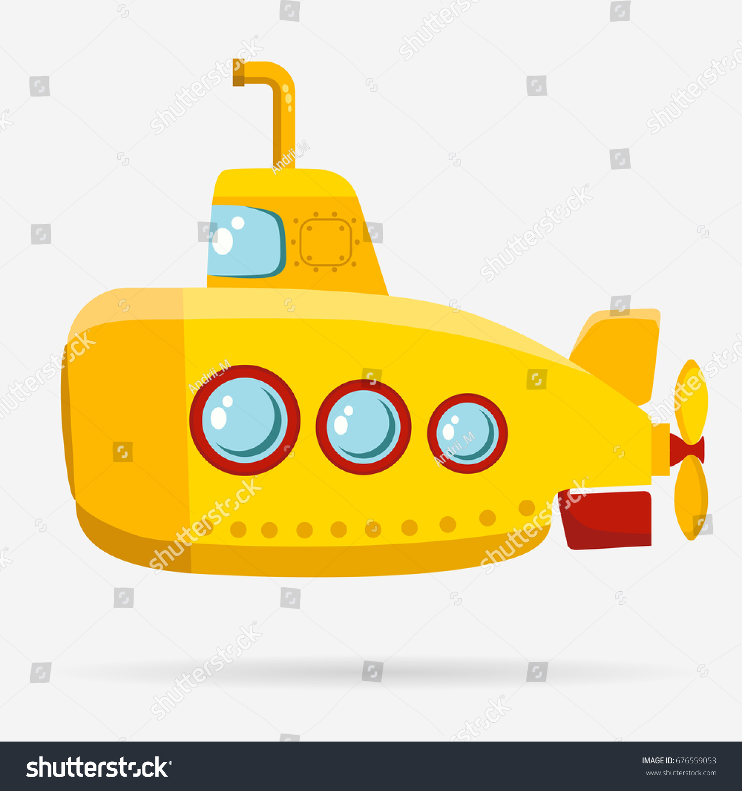 Yellow Submarine Periscope Bathyscaphe Cartoon Underwater ...