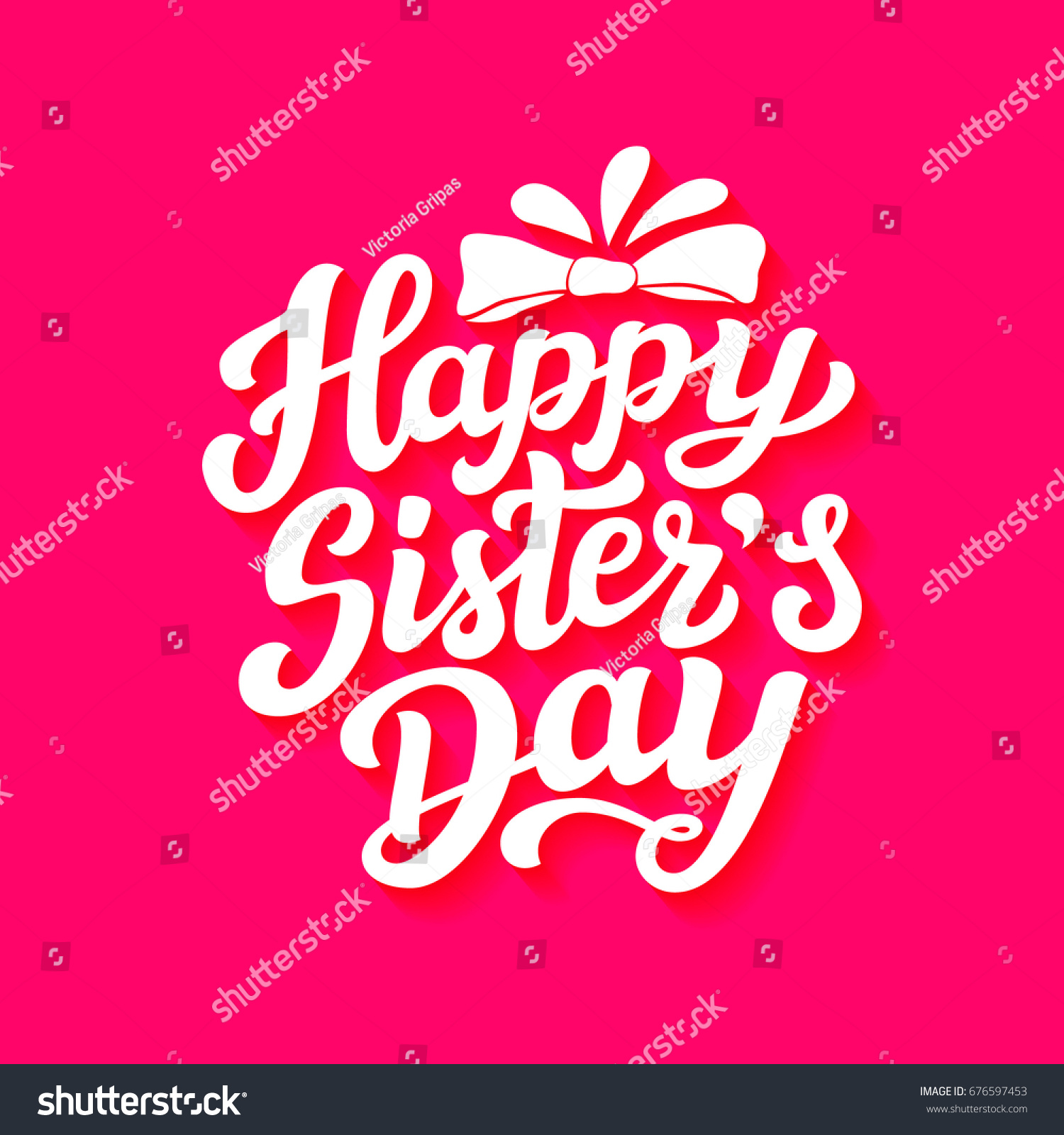Happy Sisters Day August Holiday Hand Stock Vector