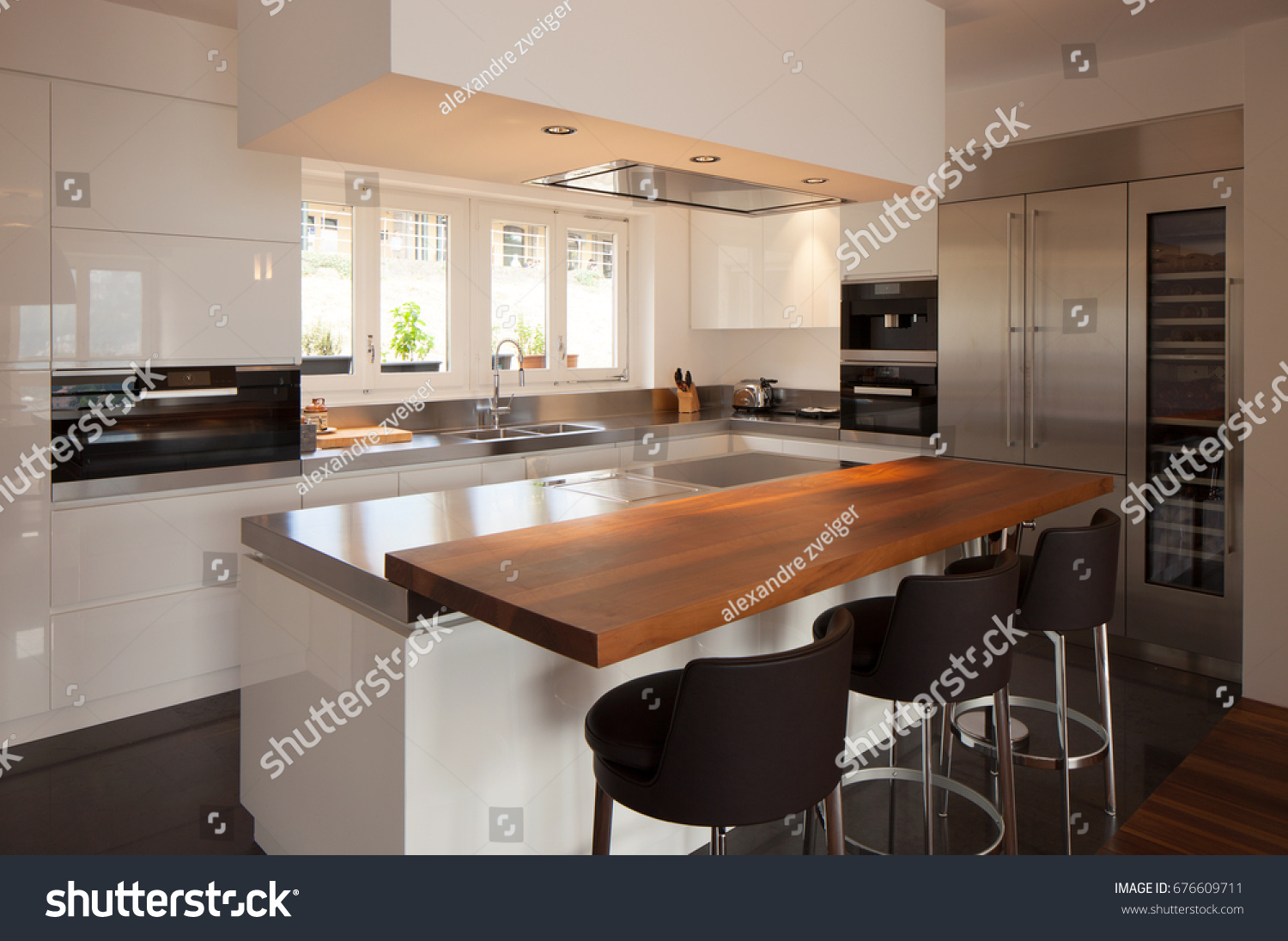 modern kitchen in luxury apartment nobody inside
