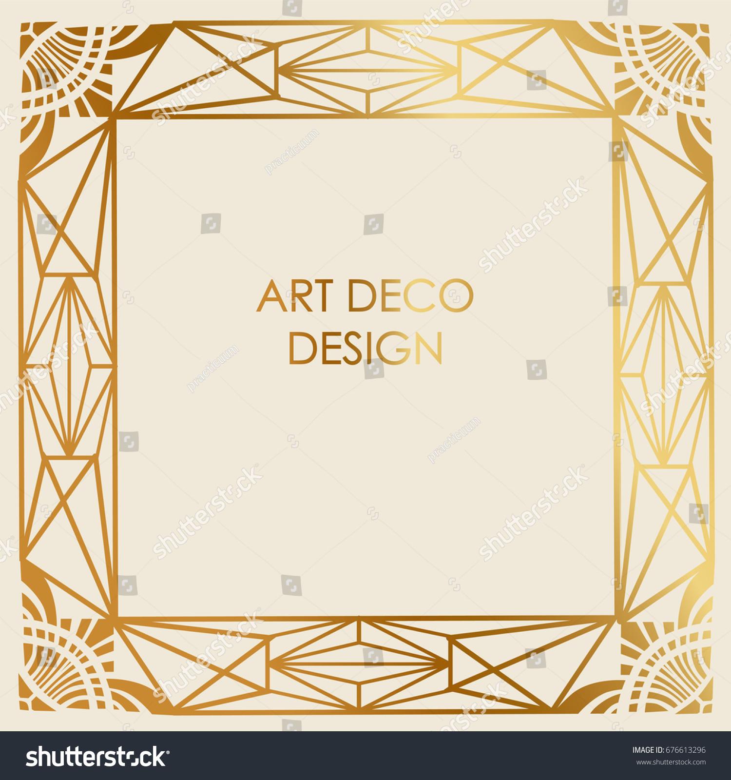 Art Deco Line Design : Art deco design border frame template stock vector