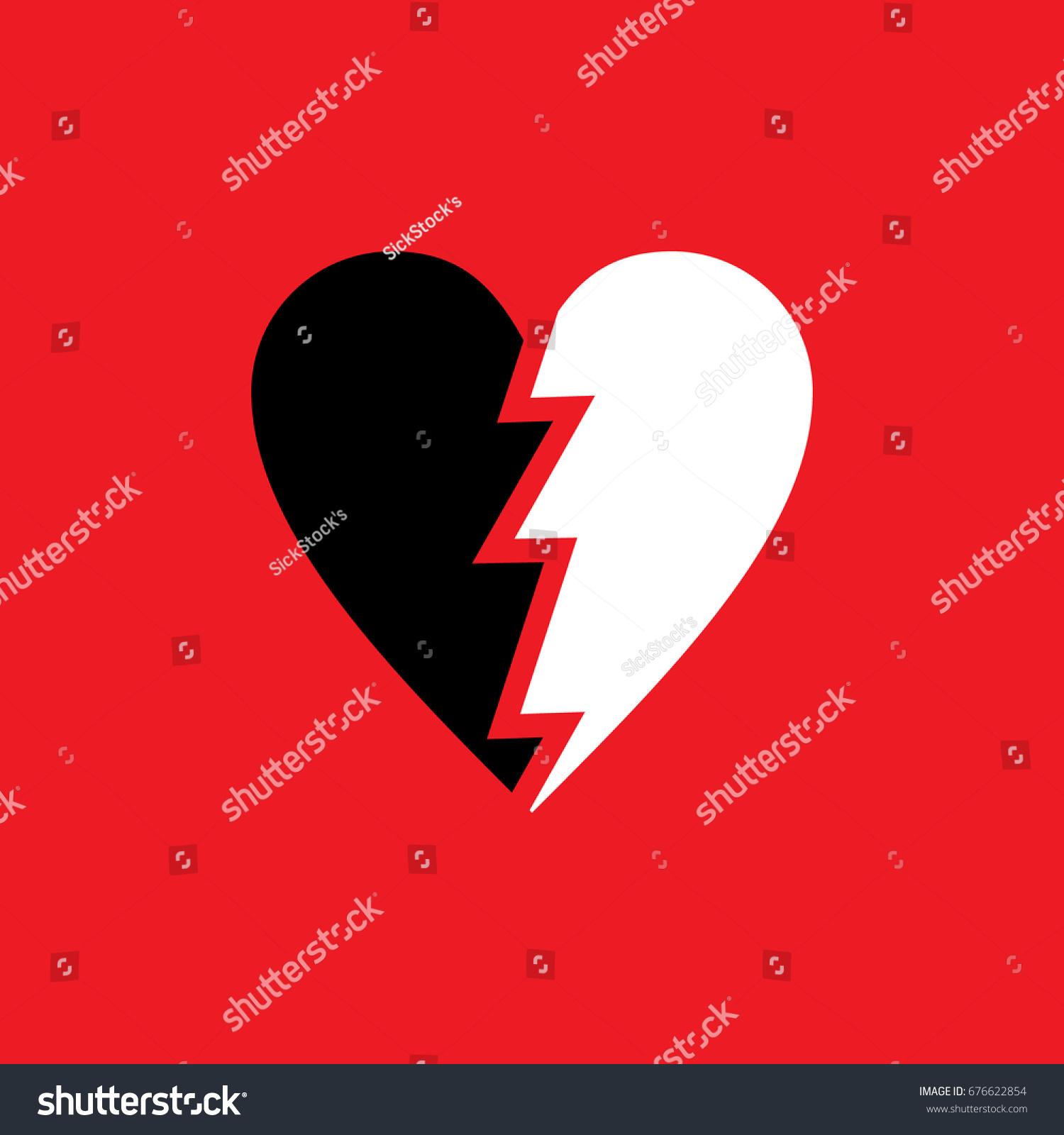 Broken Heart Symbol Vector Stock Vector Royalty Free 676622854