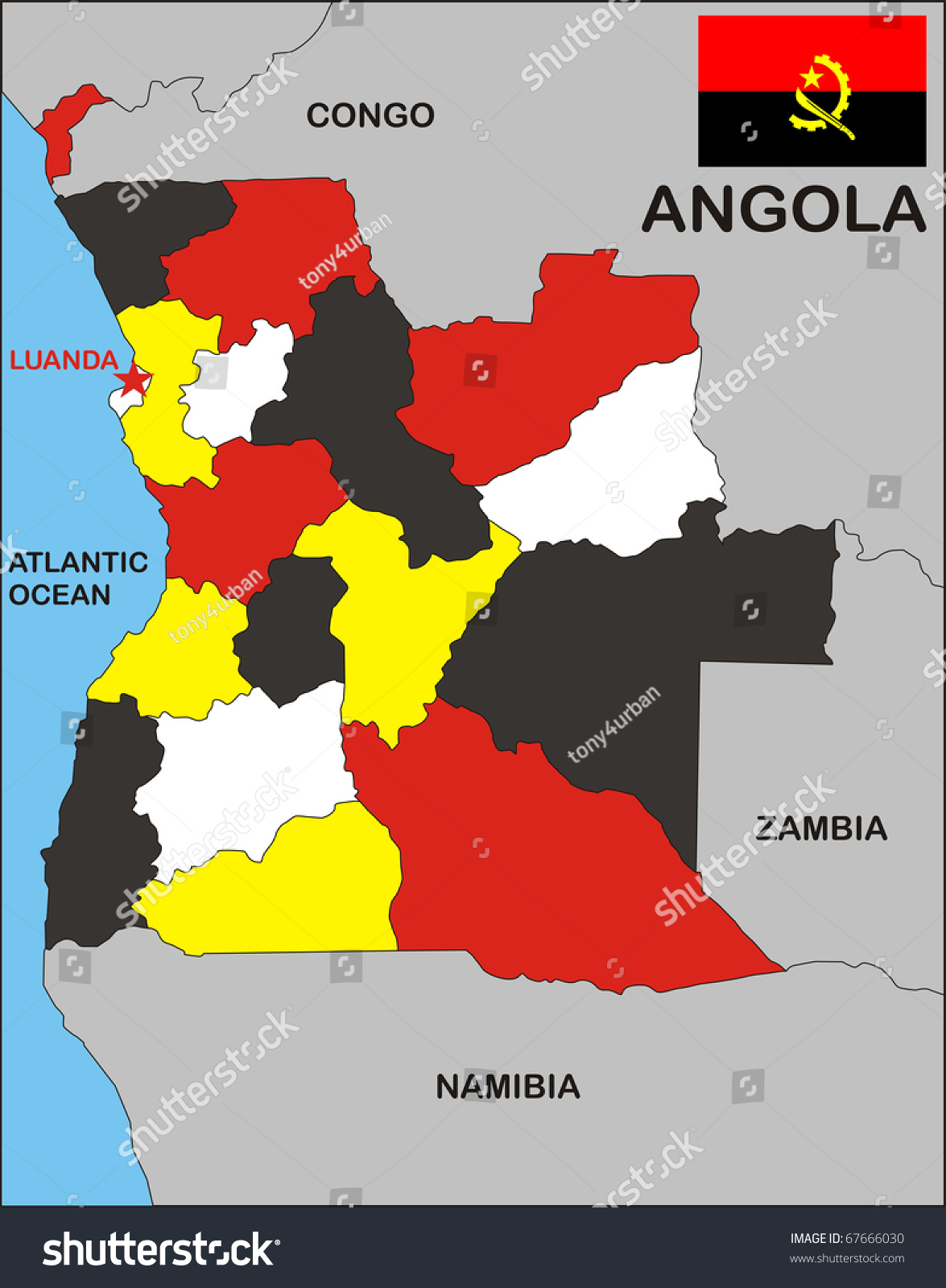 Political Map Angola Country Flag Stock Illustration - Political map of angola