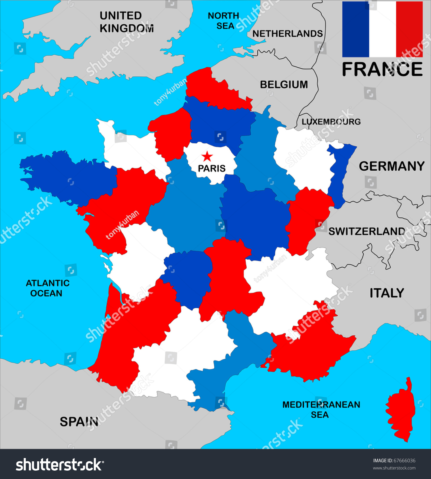 Political Map France Regions Different Colors Stock Illustration