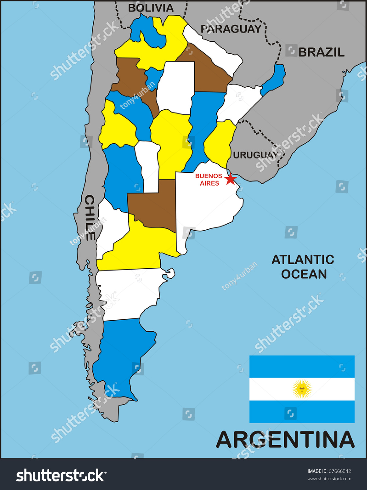 Political Map Argentina Country Flag Stock Illustration - Argentina map of country