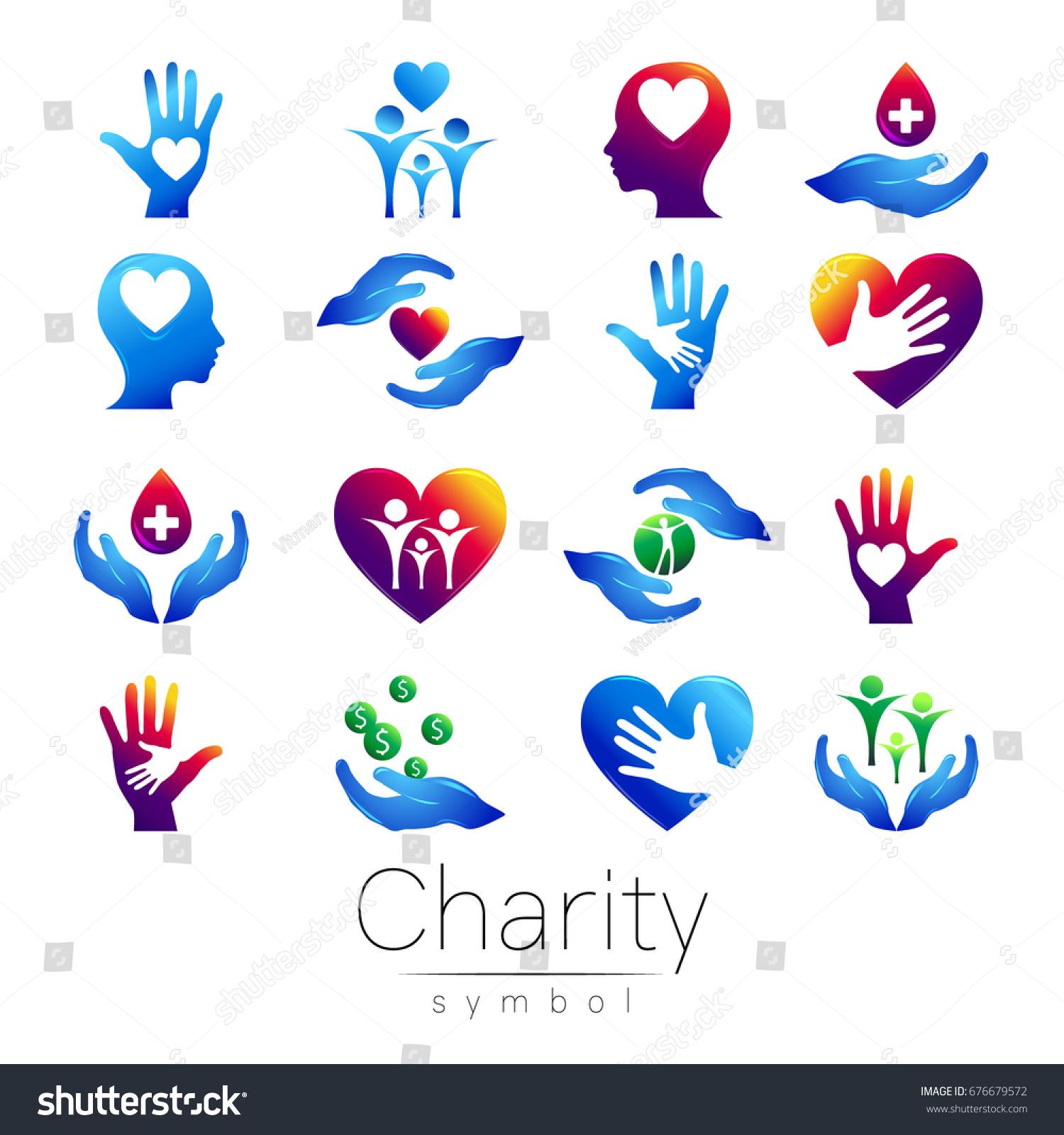 Vector Illustration Set Symbol Charity Sign Stock Vector Royalty