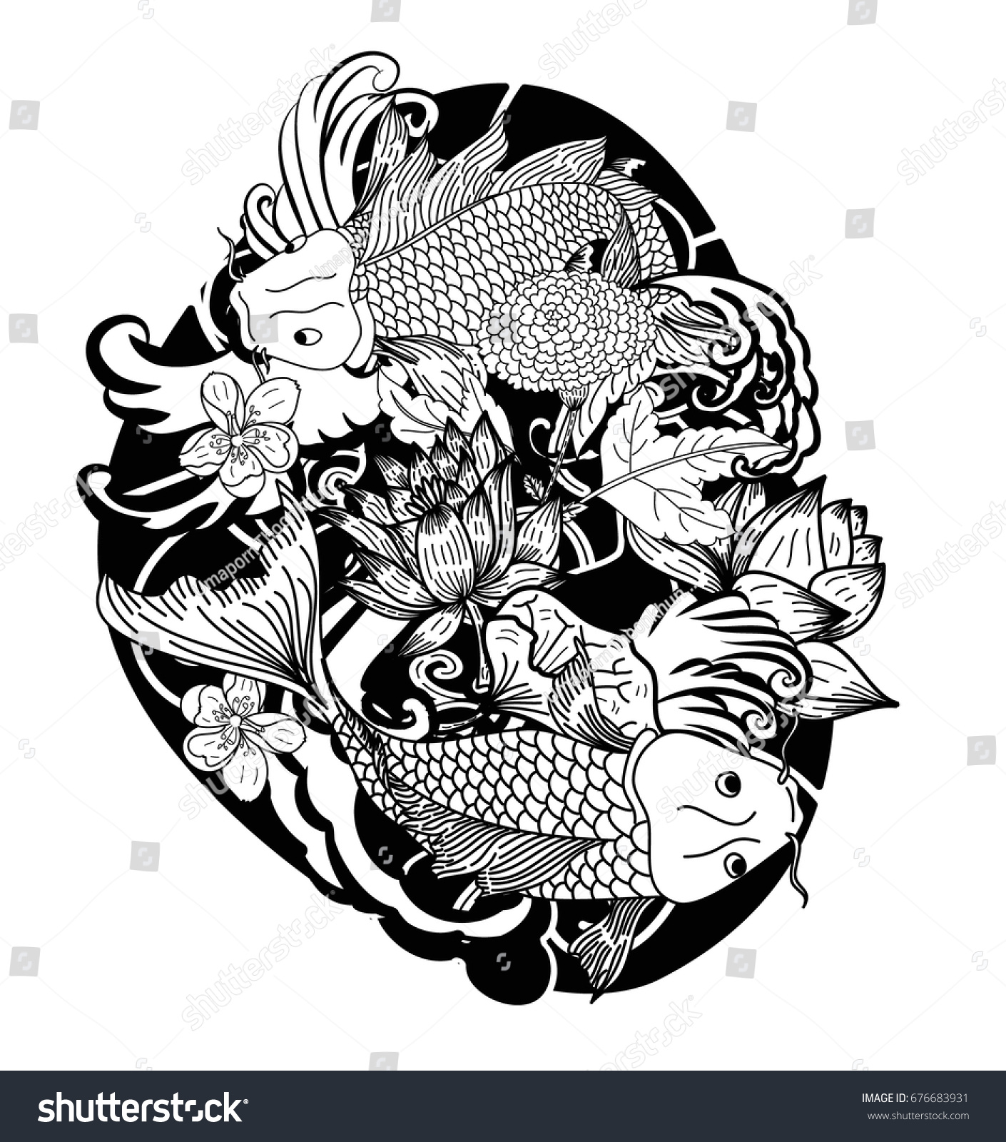Beautiful Line Art Koi Carp Tattoo Design Black And White Koi Fish