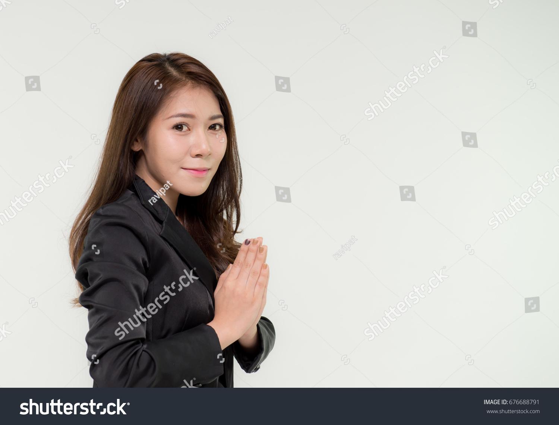 Thai Businesswoman Posing Wai Greeting Gesture Stock Photo Royalty