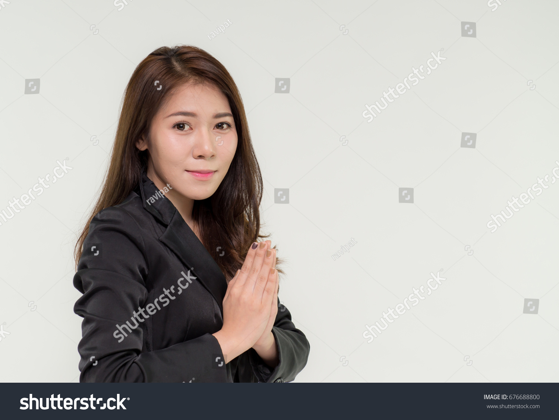 Thai Businesswoman Posing Wai Greeting Gesture Stock Photo Edit Now