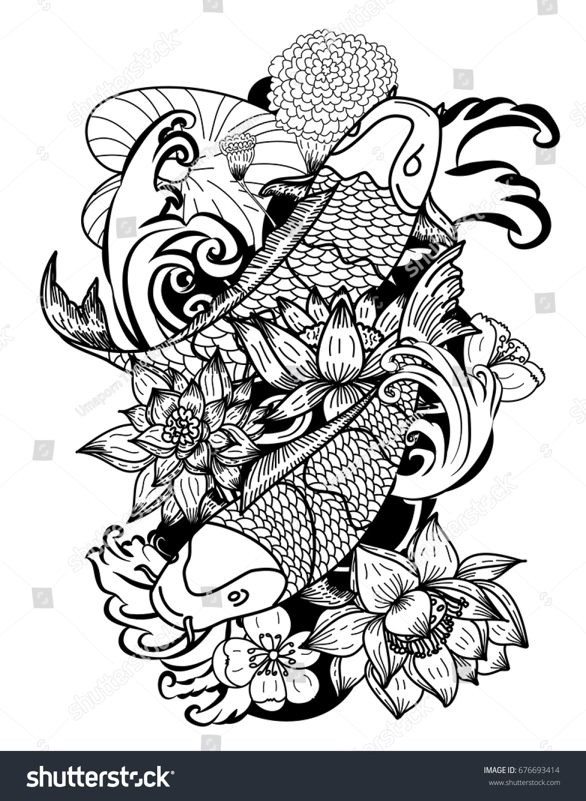 Beautiful Line Art Koi Carp Tattoo Stock Vector Royalty Free