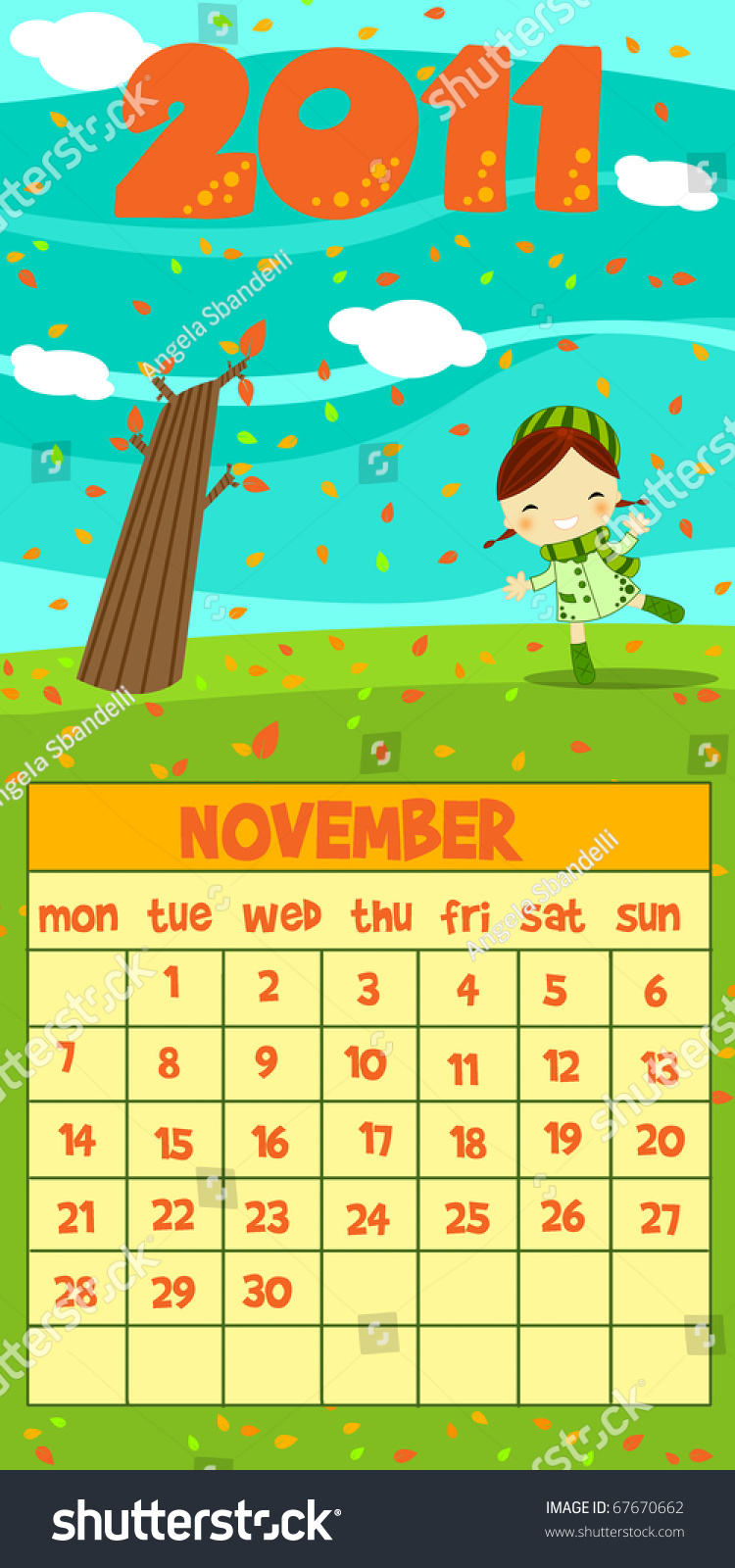 Next Year Calendar : Next year monthly calendar november stock photo