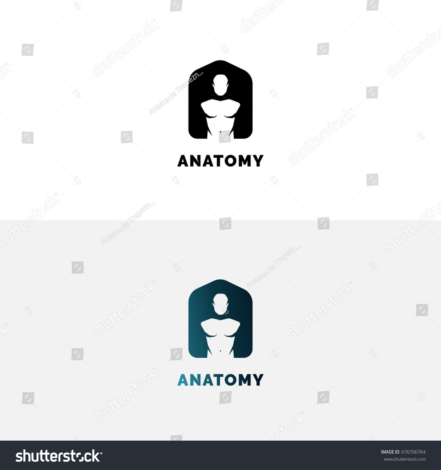 Anatomy Logo Human Torso Negative Space Stock Vector 676706764 ...