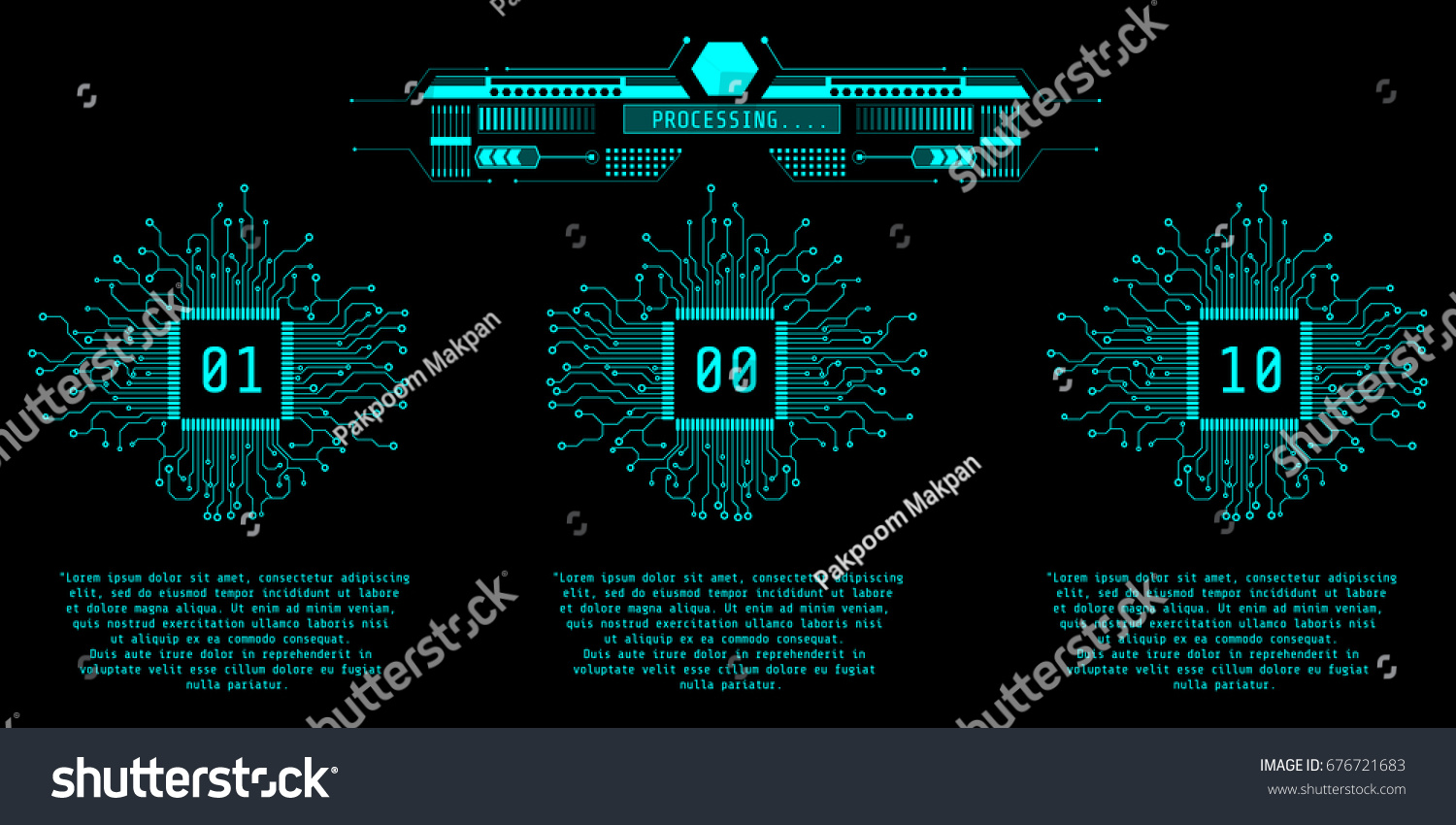 Hud Futuristic Microprocessor Infographic Vector Background Stock Circuit Board Ai Free Graphics Download Virtual Graphic Cpu With And Processing Monitor