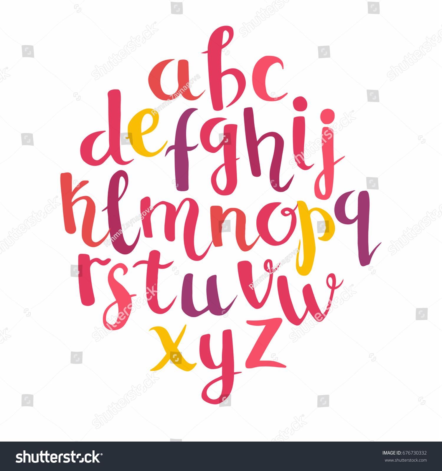 Calligraphic Vector Font Lettering Latin Alphabet Stock Vector ...