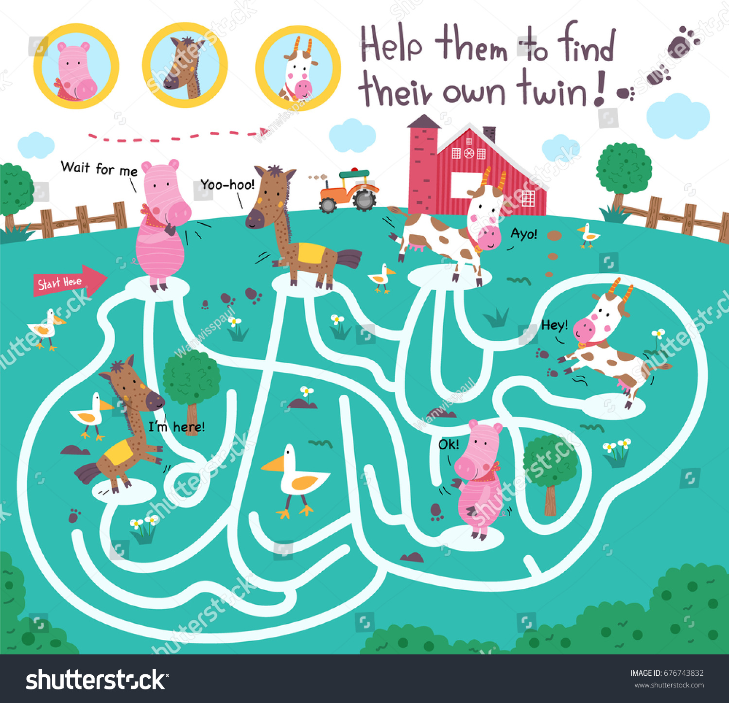 Funny Maze Puzzle Kids Help Them Stock Vector (Royalty Free ...