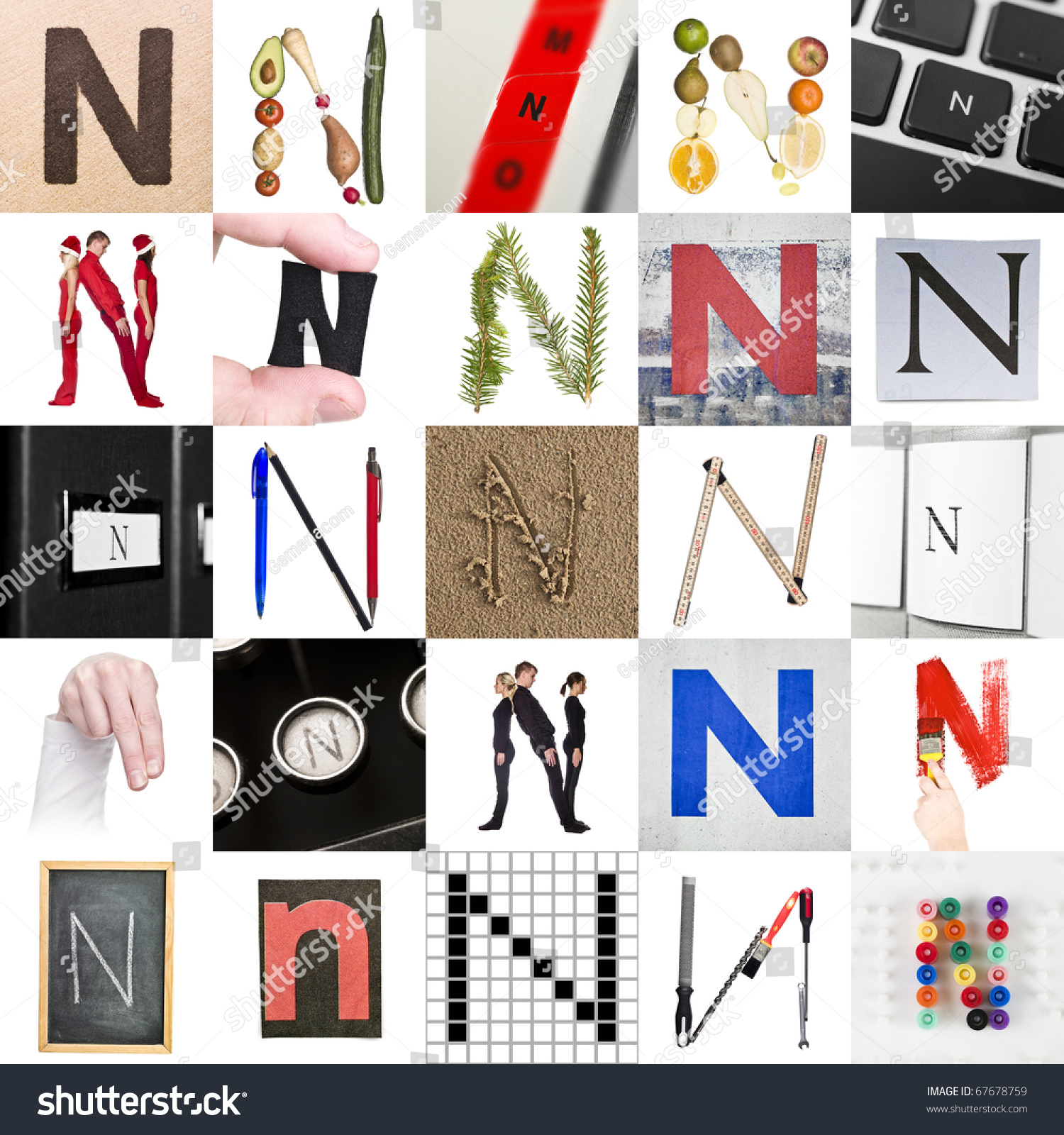 collage of images with letter n