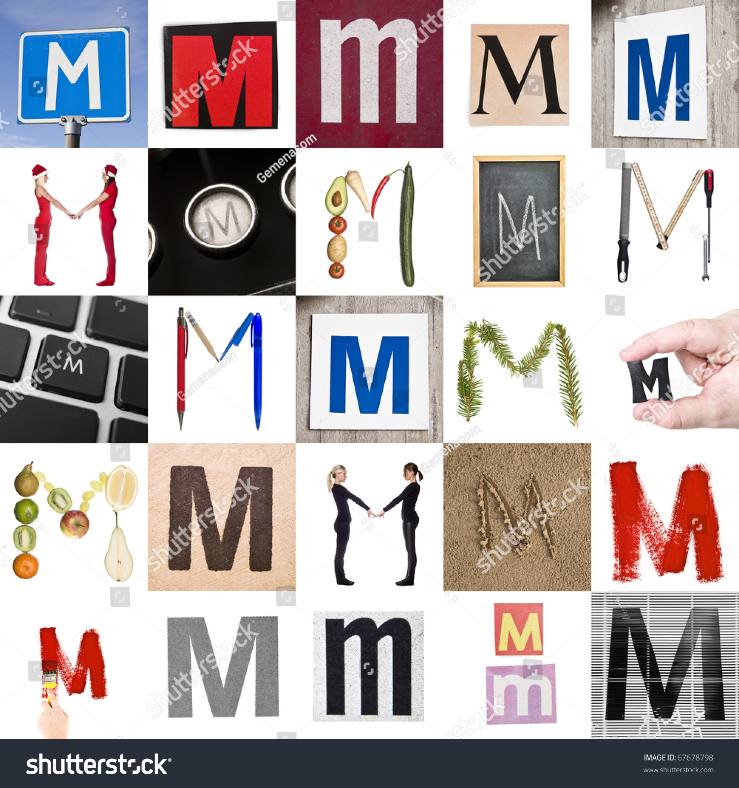 collage of images with letter m