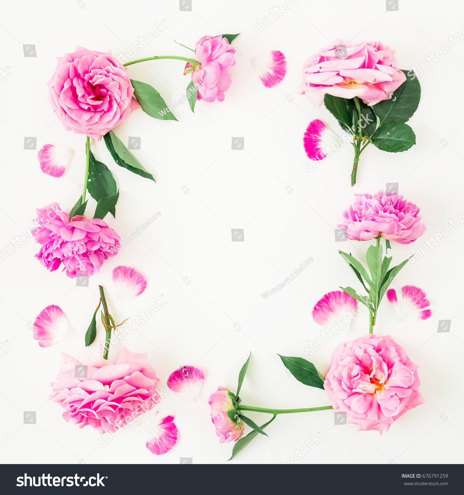 Floral Frame Made Of Pink Flowers On White Background Floral