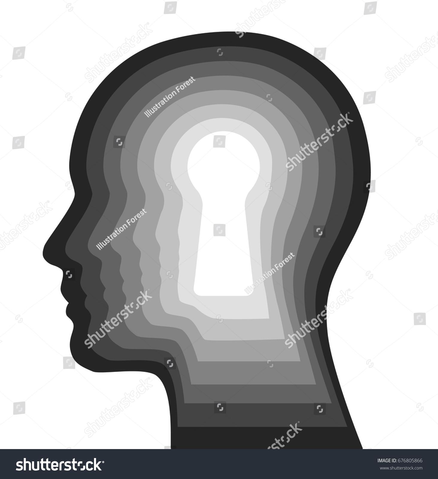 Idée De Photo De Profil image vectorielle de stock de la clé de l'esprit humain l