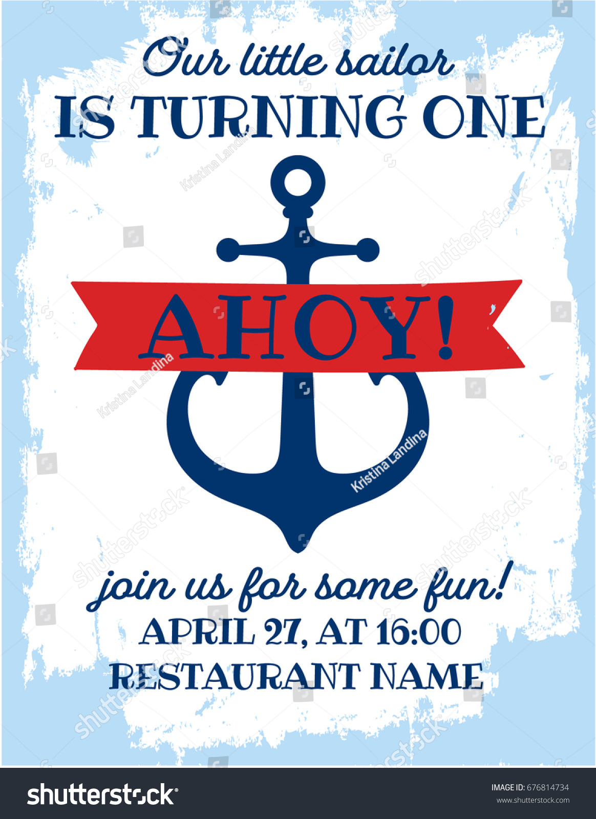 Nautical Sailor Theme Printable First Birthday Stock Vector (Royalty ...