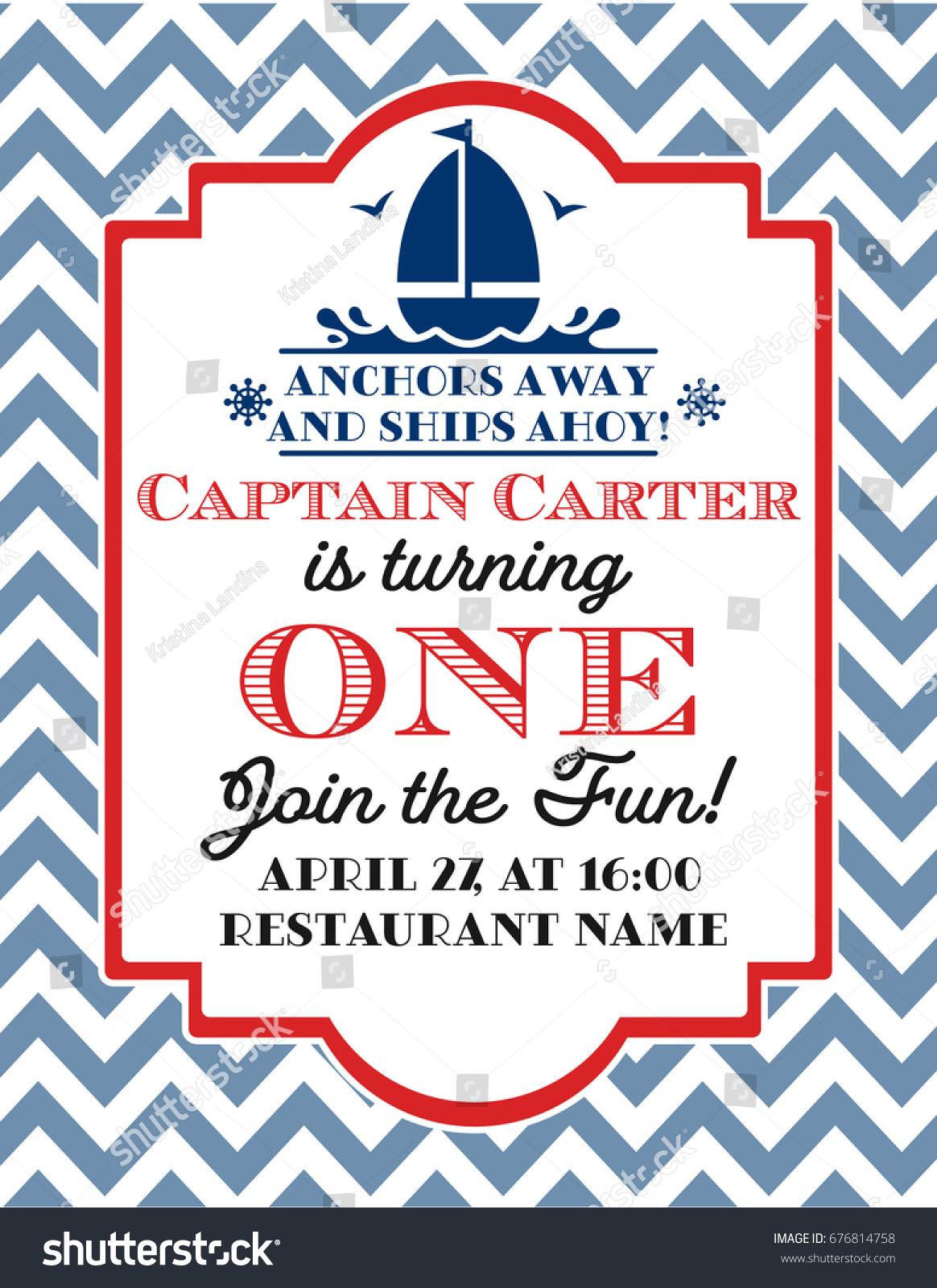 Nautical Sailor Theme Printable First Birthday Stock Vector (2018 ...